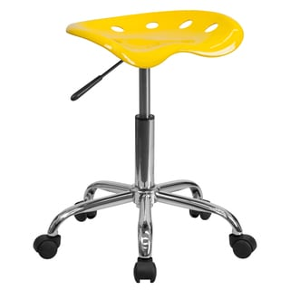 Eller Vibrant Yellow Tractor Seat Stool with Chrome Base
