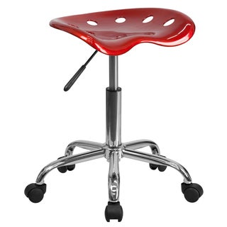 Eller Vibrant Wine Red Tractor Seat Stool With Chrome Base