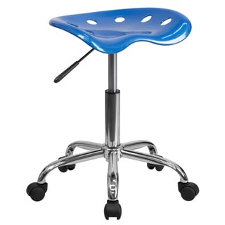 Eller Bright Blue Tractor Seat Stool with Chrome Base