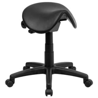 Cal Black Nylon and Metal Saddle-seat Adjustable Backless Pneumatic Stool