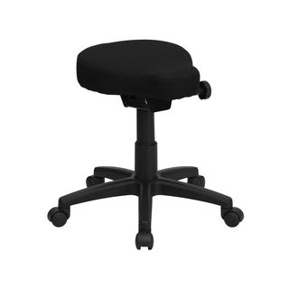 Galver Black Saddle Seat Utility Stool with Height and Angle Adjustment