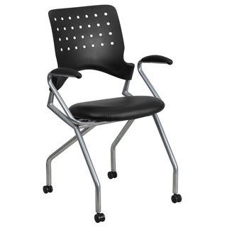 Black Mobile Leather Seat Nesting Chair