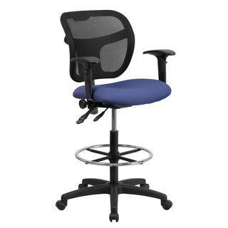 Blue Fabric and Chrome Adjustable Foot Ring Mesh-back Office Drafting Chair