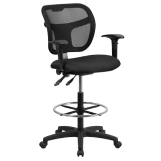 Black Fabric Seat and Chrome Adjustable Foot Ring Office Drafting Chair