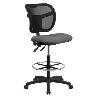 Grey Fabric Seat, Black Mesh Back, and Chrome Adjustable Foot Ring Office Drafting Chair