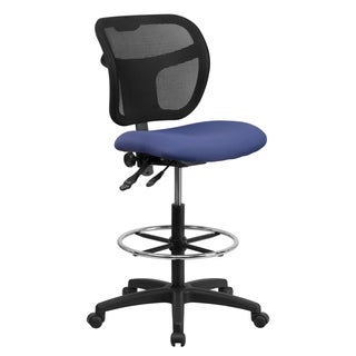 Blue Fabric and Mesh Armless Office Drafting Chair