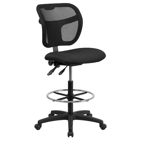 Office Armless Black Mesh Curved Back Drafting Chair with Fabric Seat and Adjustable Chrome Foot Ring