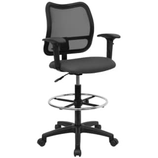 Office Ventilated Black Mesh Back Drafting Chair with Grey Fabric Seat
