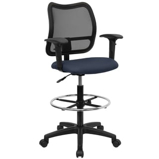 Office Ventilated Black Mesh Back Drafting Chair with Blue Fabric