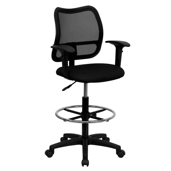 Office Ventilated Clack Mesh Back Drafting Chair with Fabric Seat