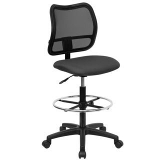 Office Armless Ventilated Black Mesh Back/Grey Fabric Seat Drafting Chair