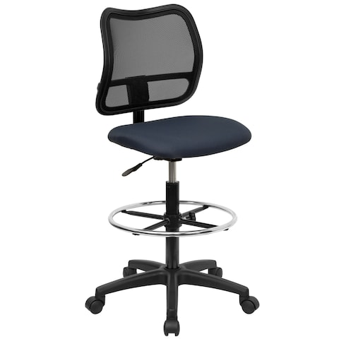 Office Armless Ventilated Black Mesh Back Blue Drafting Chair