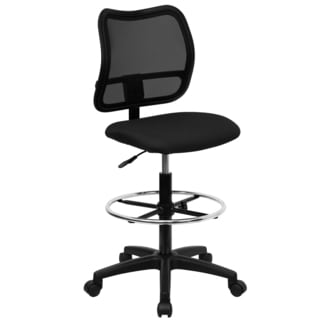 Office Armless Ventilated Black Mesh Back Drafting Chair