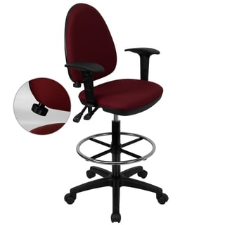 Burgundy Fabric Multifunctional Office Drafting Chair with Adjustable Lumbar Support and Foot Ring