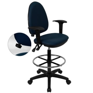 Office Blue Fabric Multi Functional Drafting Chair with Adjustable Lumbar Support and Foot Ring
