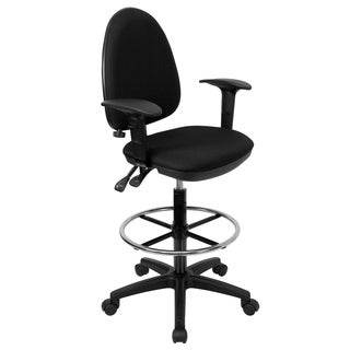 Black Fabric Adjustable Lumbar Support and Foot Ring Office Drafting Chair