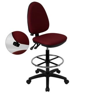 Office Armless Burgundy Fabric Multifunctional Drafting Chair