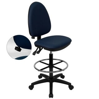 Office Blue Fabric Armless Multi-functional Adjustable Lumbar-support Drafting Chair