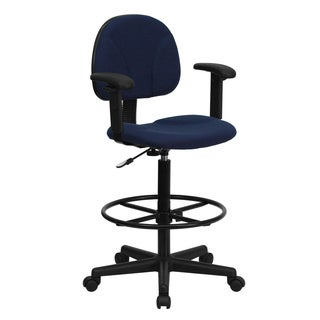 Blue Patterned Fabric Office Drafting Chair with Adjustable Arms and Foot Ring