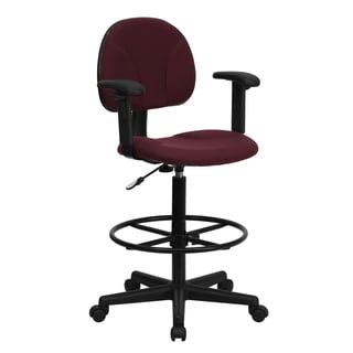 Office Burgundy Fabric Drafting Chair with Adjustable Arms and Foot Ring