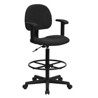 Black Patterned Fabric Office Drafting Chair with Adjustable Arms and Foot Ring