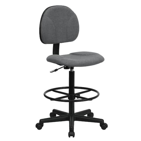 Grey Fabric Armless Office Drafting Chair with Adjustable Foot Ring