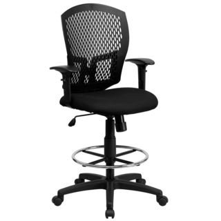 Designer Perforated Back Drafting Chair with Adjustable Chrome Foot Ring
