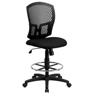 Perforated Designer Back Armless Drafting Chair with Adjustable Chrome Foot Ring