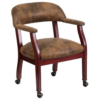 Luxurious Brown Microfiber Executive Office Visitor Chair with Nailhead Trim and Wheel Casters
