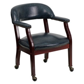 Blue Leatherette Nail-head Trim Caster Wheels Executive/Office/Visitor Chair