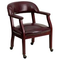 Oxblood Leatherette Nailhead-trim Office Visitor Chair With Caster Wheels - Burgundy