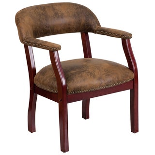 Brown Microfiber and Mahogany Nailhead Trim Office Visitor Chair