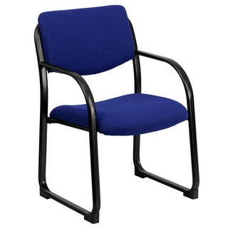 Blue Fabric and Steel Sled Base Office Visitor and Conference Chair
