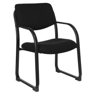 Black Fabric Office Conference Visitor Chair with Sled Base