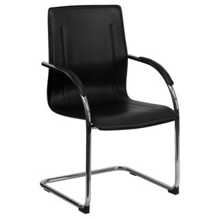 Sleek Black Leatherette Office Visitor Chair with Chrome Sled Base
