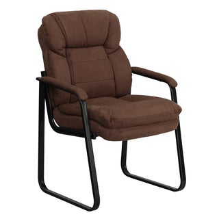 Plush Brown Microfiber Executive Office Visitor Chair with Sled Base