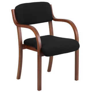 Black/Brown Fabric/Wood Office Visitor Chair