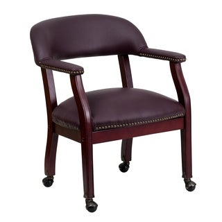 Burgundy Leather Rolling Office Side Chair