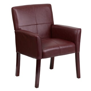 Burgundy Leather Executive Office side Chair with Mahogany Finished Legs