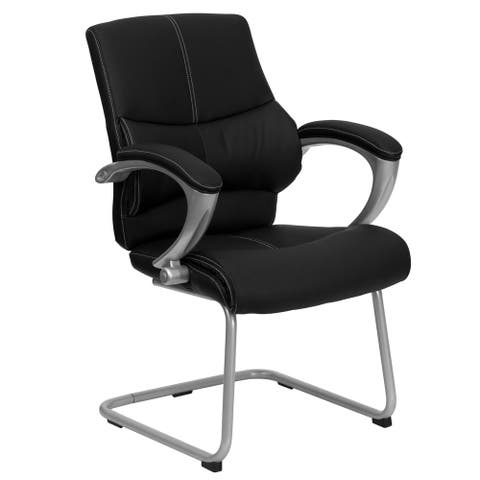 Black Leather Executive Office Conference Side Chair