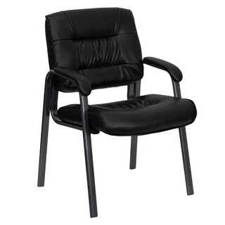 Black Leather Executive Guest Office Side Chair with Titanium Finished Frame