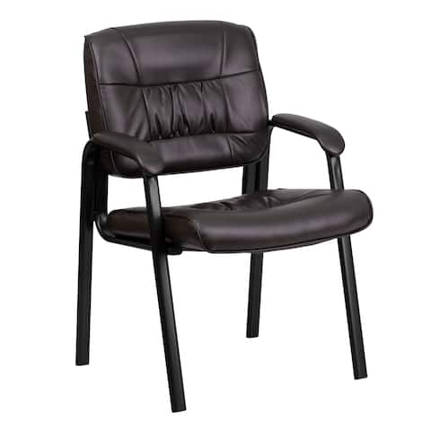 Dark Brown Leather Executive Guest Office Side Chair