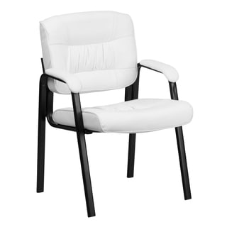 White Leather Executive Guest Office Side Chair