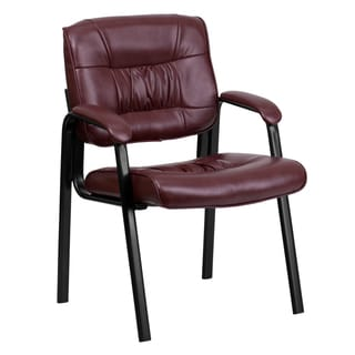 Burgundy Leather Executive Guest Office Side Chair