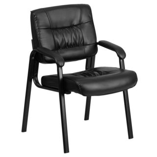 Black Leather Executive Guest Office Side Chair