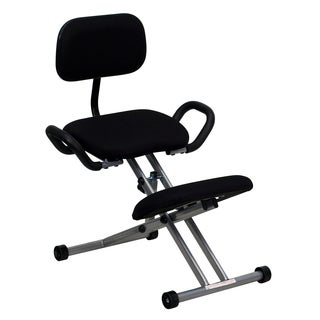 Black Padded Seat and Knee Rest Kneeling Chair with Handles
