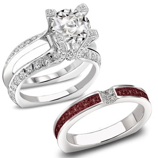 14k White Gold Set 2 1/2 TDW Split Shank Diamond and Ruby Bridal Ring Wedding (F-G, VS1-VS2)
