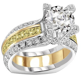 14k Gold 2 1/2 TDW Fancy Yellow Diamond Bridal Ring Wedding Set (F-G, VS1-VS2)