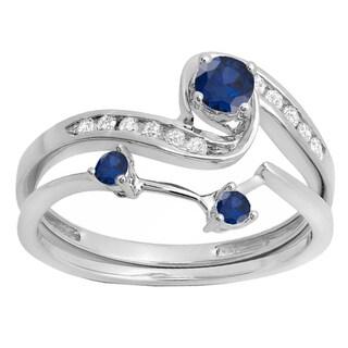 10k White Gold 1/2ct TW Blue Sapphire and White Diamond Bridal Ring Set (H-I, I1-I2)