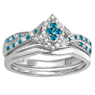 Sterling Silver 1/3ct TDW Round Blue and White Diamond Marquise Engagement Ring (I-J, I2-I3)